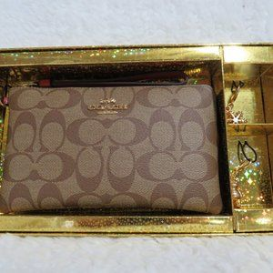Coach Boxed Large Corner Zip Wristlet with Charms